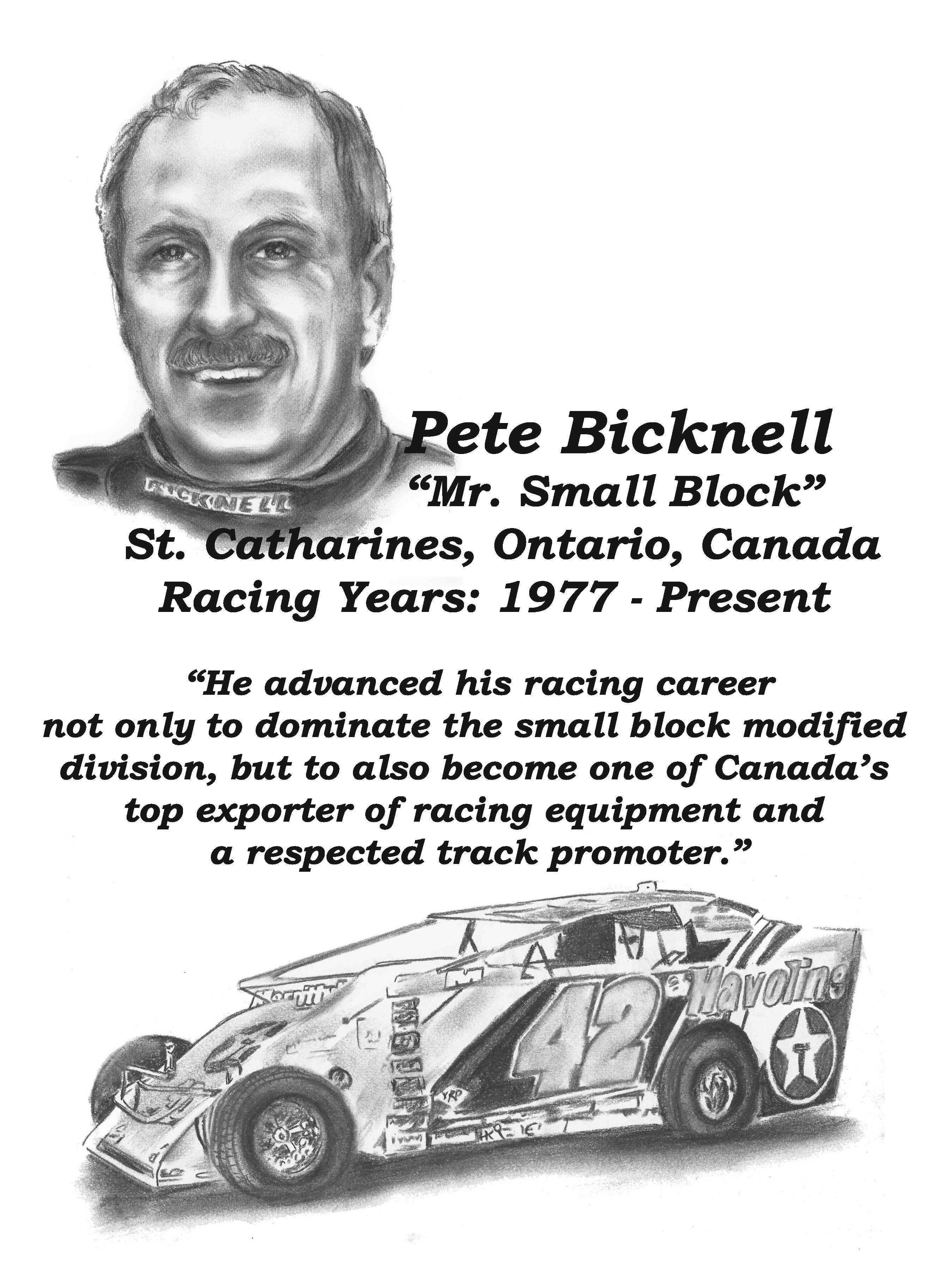 Pete Bicknell Dirt hall of Fame